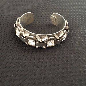DANNIJO cuff  w/ 20 faceted white crystal stones
